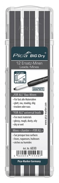 Pica 6030 BIG DRY Ersatzminen SET 12 x FOR ALL graphit