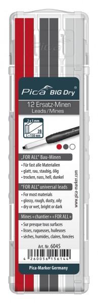 Pica BIG Dry Ersatz-Minen 6030 - 6045 Wasserlösliche FOR ALL Bau-Minen